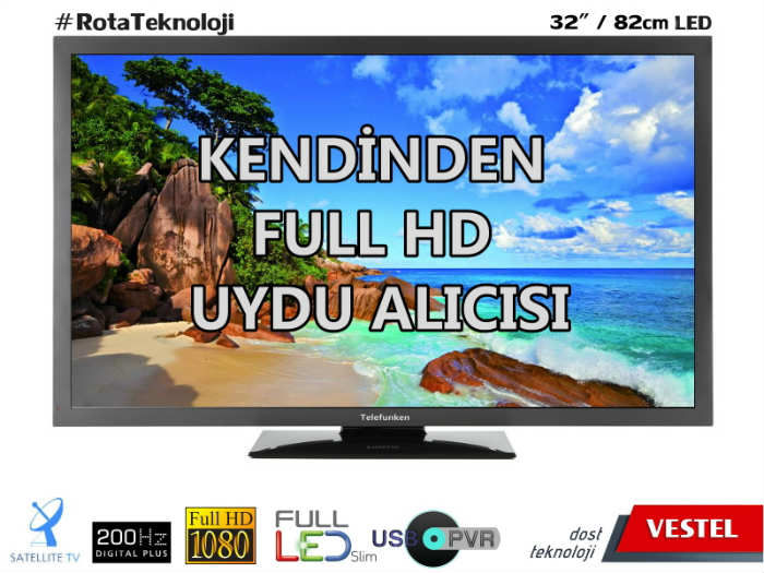 "TELEFUNKEN 32""(82CM) DAH�L� UYDULU FULL LED TV"