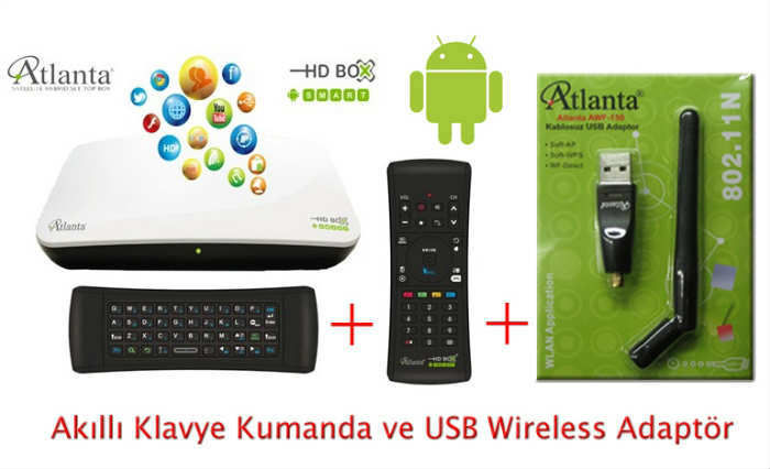 Atlanta HDBox Smart Android-Kumanda-Wifi Hediye