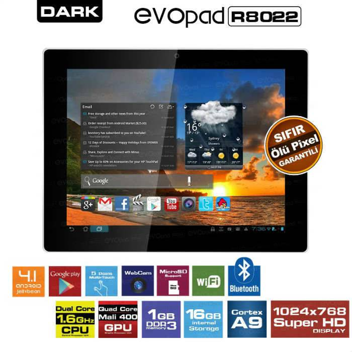 "Dark EvoPad R8022 8"" �ift �ekirdek 16GB Tablet"