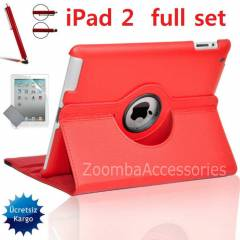 iPad 2 STANDLI KILIF 360� Case Full Set K�rm�z�