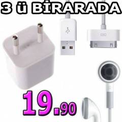 iPHONE 4/S iPOD KULAKLIK  3in1 �ARJ C�HAZI 3G/S