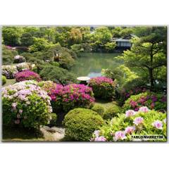 50x70 KANVAS TABLO GARDENS POND KOBE JAPAN SHRUB