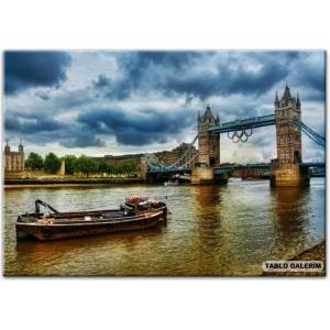 100X70 KANVAS TABLO LONDON RIVER THAMES TOWER BR