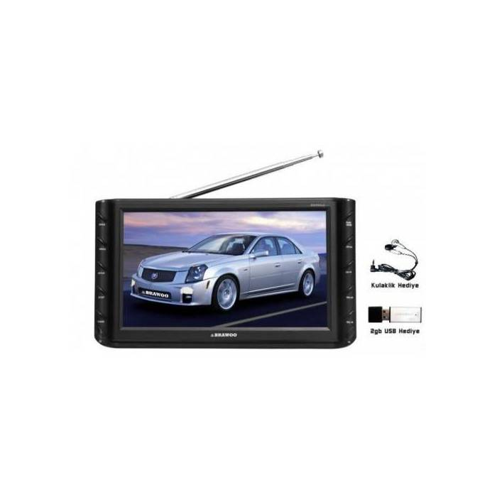 "BRAWOO BW990ub 9"" SD ve USB li TV li Oto Monit�r"