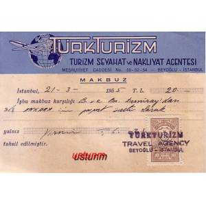 1955 YILI T�RK TUR�ZM TRAVEL AGENCY MAKBUZU ....