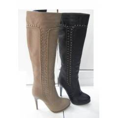 DSN PINNED HIGH HEEL BOOTS BEJ KAHVE VE S�YAH