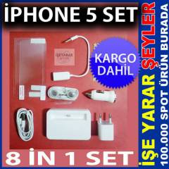 iPHONE 5 ARA� �ARJ EKRAN KORUYUCU 8 �N 1 SET KD
