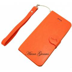 iPhone 5 Stantl� Orange Deri K�l�f + Flim