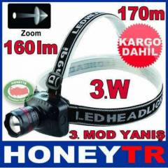 CREE 3W LED HIGH POWER ZOOMLU KAFA LAMBASI KD