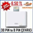 30 Pin To 8 Pin D�n��t�r�c� iPhone 5 �evirici