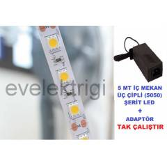 5 MT �� ��PL� 5050 S�L�KONLU �ER�T LED + ADAPT�R