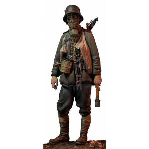 90 mm Andreas Miniatures S8-F57 WWI Alman Stormtrooper 1917 Metal Asker Figürü
