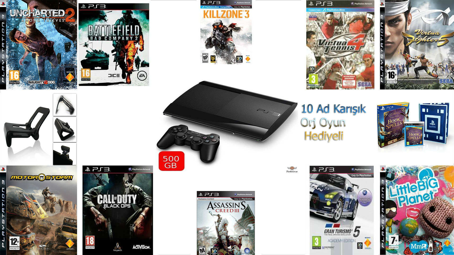 PS3 500 GB +2.ORJ KOL+ +MOVE SETLİ+ 20 ORJ OYUNLU