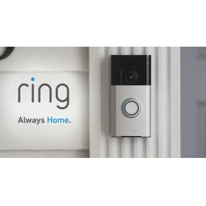 Ring Wi-Fi Enabled Video Doorbell in Satin Nickel Works with Alexa