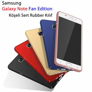 Samsung Note Fe Luxury Köşeli Sert Rubber KılıfTempered Cam