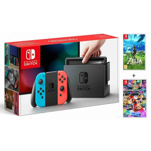 Nintendo Switch Konsol + Zelda Breath of The Wild + Mario Kart 8 Deluxe 356651984