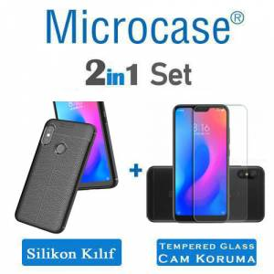 Microcase Xiaomi Mi A2 Lite Leather Tpu Silikon Kılıf  Tempered Glass Ekran Koruma