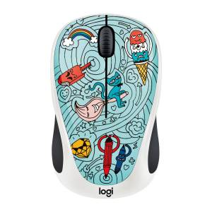 Logitech M238 Kablosuz Mouse The Doodle Collection Bae-Bee Blue 910-005055