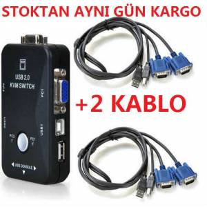 2 PORT USB KVM SWİTCH 2 PC KASA TEK KONTROL 9001p ÇOKLU KABALO DAHİL VGA PC LAPTOP BİLGİSAYAR