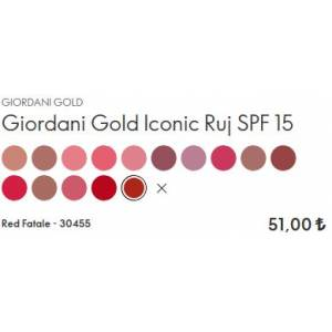 Oriflame Giordani Gold Iconic Ruj SPF 15 4gr Rose Petal 30449 - Red Fatale 30455
