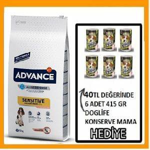 ADVANCE DOG SENSITIVE SOMONLU KÖPEK MAMASI 12 KG  HEDİYELİ