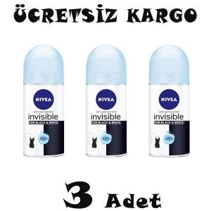 Nivea Invisible Black and White Pure Bayan Roll-On 50ml 3 ADET