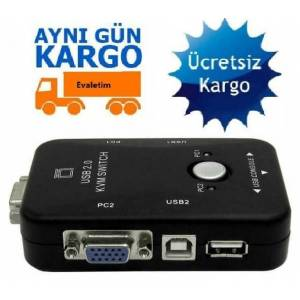 2 PORT USB KVM SWİTCH 4509p 2 PC KASA TEK KONTROL ÇOKLU KASA KLAVYE MOUSE MONİTÖR BİLGİSAYAR LAPTOP