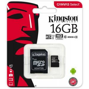 16 GB KINGSTON CANVAS SELECT MICRO SDHC UHS-1 CLASS 10 80MBS SDCS16GB