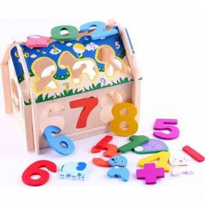 Learning Toys Math Wooden Blocks House