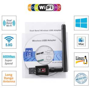600 MBPS ANTENLİ WİRELESS ADAPTER İNTERNET USB WİRELESS DONGLE