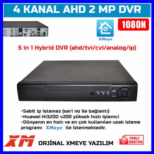 4 KANAL AHD DVR XMEYE 1080N FULL HD Kayıt Cihazı-5 IN 1AHD-TVI-CVI-ANALOG-IP-1648-30D17 409873994