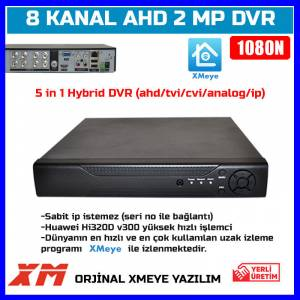 8 KANAL AHD DVR XMEYE 1080N FULL HD Kayıt Cihazı-5 IN 1AHD-TVI-CVI-ANALOG-IP-1628-30D17