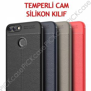 For Huawei P Smart Kılıf Silikon  Temperli Cam niss