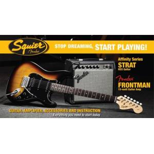 Stop Dreaming Start Playing Set: Affinity Strat HSS Fender Frontman 15G Amp Brown Sunburst