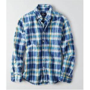 American Eagle Plaid Button-Down GOMLEK XLT 9665