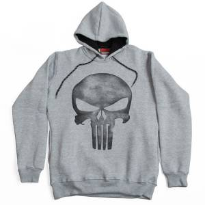 The Punisher Vintage Hoodie Kapşonlu Sweatshirt Gri
