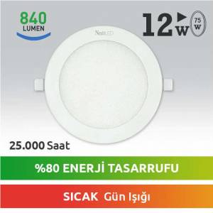 Next LED 12W 75W LED PANEL SLIM DOWNLIGHT YUVARLAK GÜN IŞIĞI