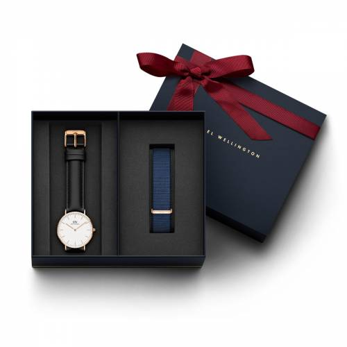 Daniel Wellington Men's Classic Sheffield, Silver 36 mm Watch + Bayswater Nato Strap 18 mm (DW001000