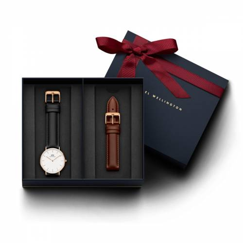 Daniel Wellington Men's Classic Sheffield, Rose Gold 36 mm Watch + St Mawes Leather Strap 18 mm (DW0