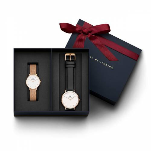 Daniel Wellington Women's Classic Petite Melrose, Rose Gold 32 mm Watch + Men's Classic Sheffield, R