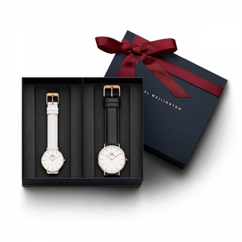 Daniel Wellington Men's Classic Sheffield Watch Rose Gold 40 mm Watch + Women's Classic Petite Bondi