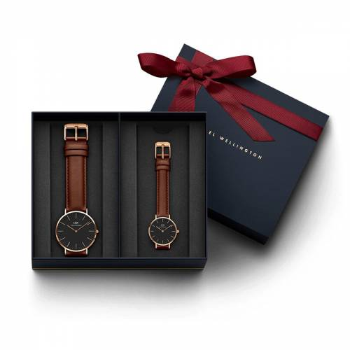 Daniel Wellington Men's Classic Black St Mawes, Rose Gold 36 mm Watch + Classic Black Petite St Mawe