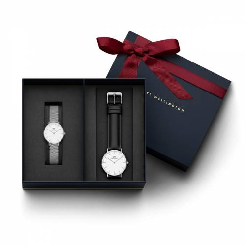 Daniel Wellington Women's Petite Sterling, Silver 28 mm Watch + Men's Classic Sheffield Silver 36 mm