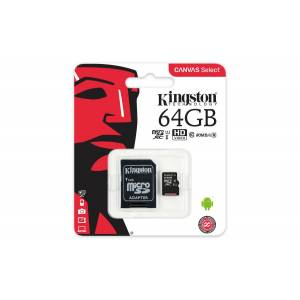 Kingston Canvas Select 64GB microSDHC Class 10 UHS-I 80MBs SDCS64GB