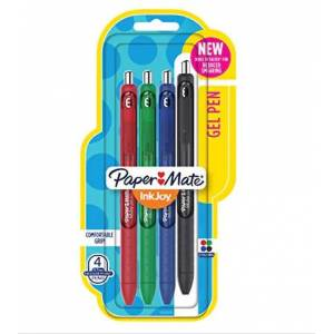 Paper Mate İnk Joy Jel Kalem 0.7 mm 4lü Set Ana Renkler