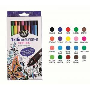 Artline Supreme Fine Pen 0.4 mm Keçe Uçlu Kalem 20 Renk Set