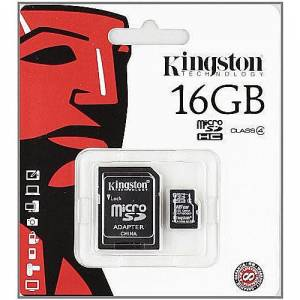 KINGSTON 16GB microSDHC Class 4 Flash Card Kart ve Adaptör
