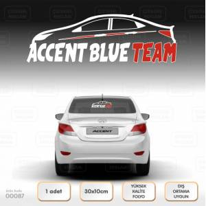 Hyundai Accent Blue Team Sticker  Araba Logo Etiket Amblem - Cam - Laptop - Oto Sticker - Far