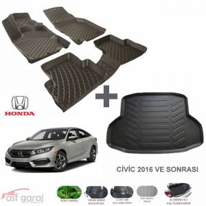 Honda Civic FC5 Sedan 3D Paspas ve Bagaj Havuzu Seti 2016-2018