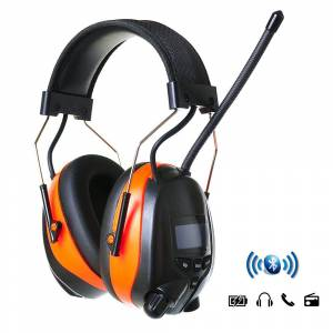 PROTEAR Hearing Protection Wireless Bluetooth AM FM Radio Headphones with Rechargeable